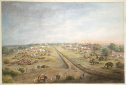 The channel of 'Ali Mardan Khan's canal at Karnal, with the encampment of the Raja of Patiala, Punjab on either side of it